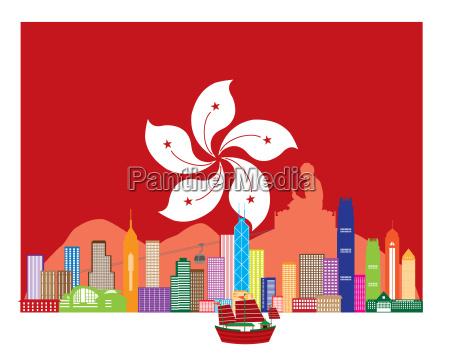 hong kong skyline and buddha statue