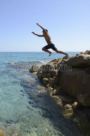 boy dive into the sea