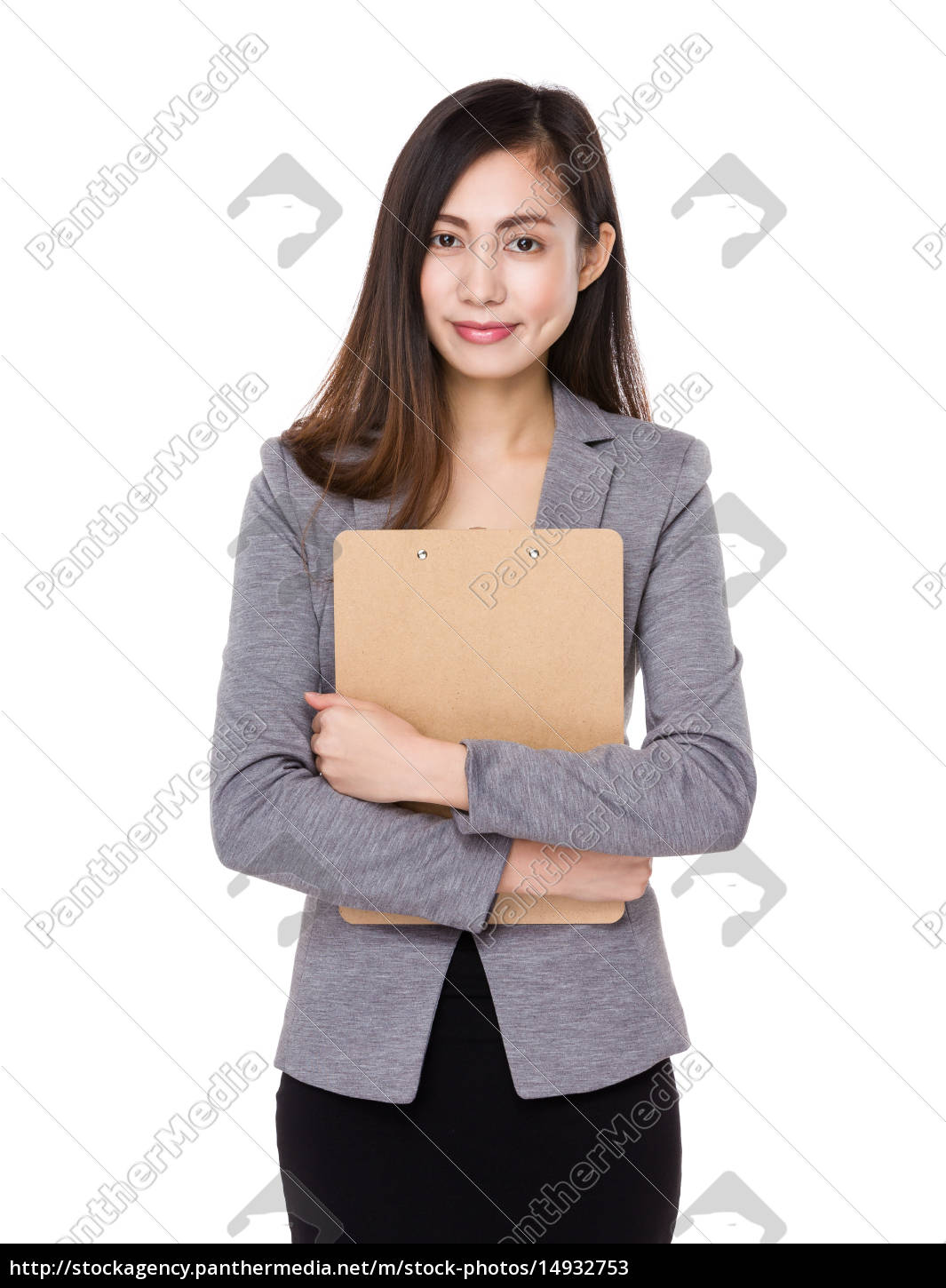 asian, businesswoman, hold, with, clipboard - 14932753