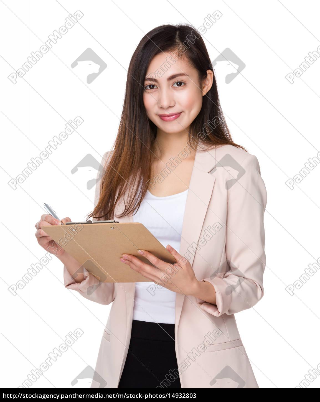asian, businesswoman, take, note, on, clipboard - 14932803