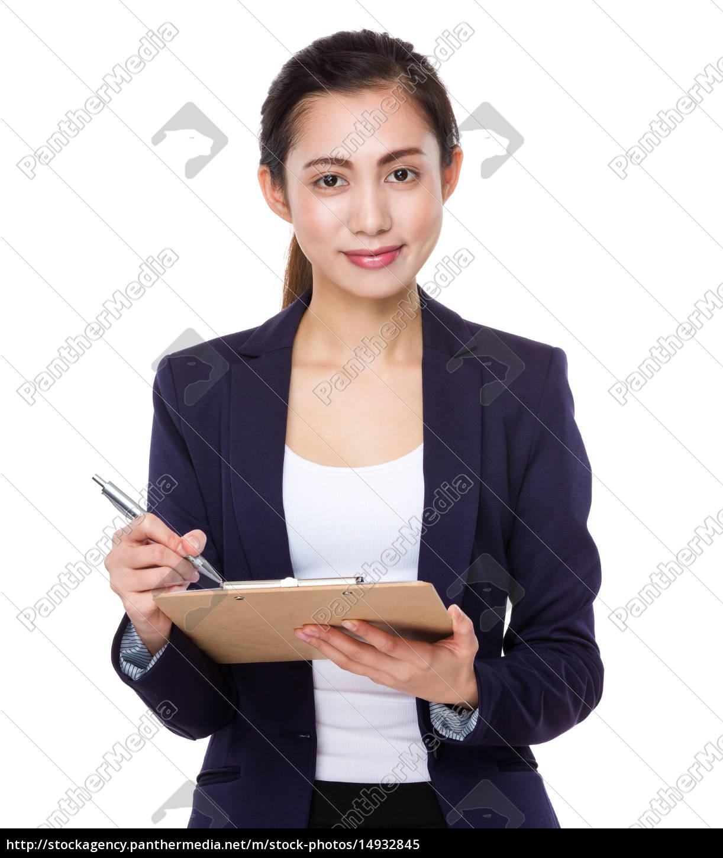 asian, businesswoman, take, note, on, clipboard - 14932845