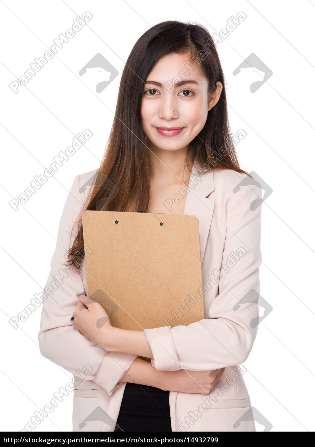 asian, young, businesswoman, hold, with, clipboard - 14932799