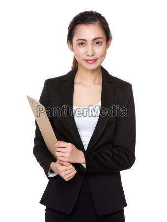 businesswoman, hold, with, clipboard - 14932887