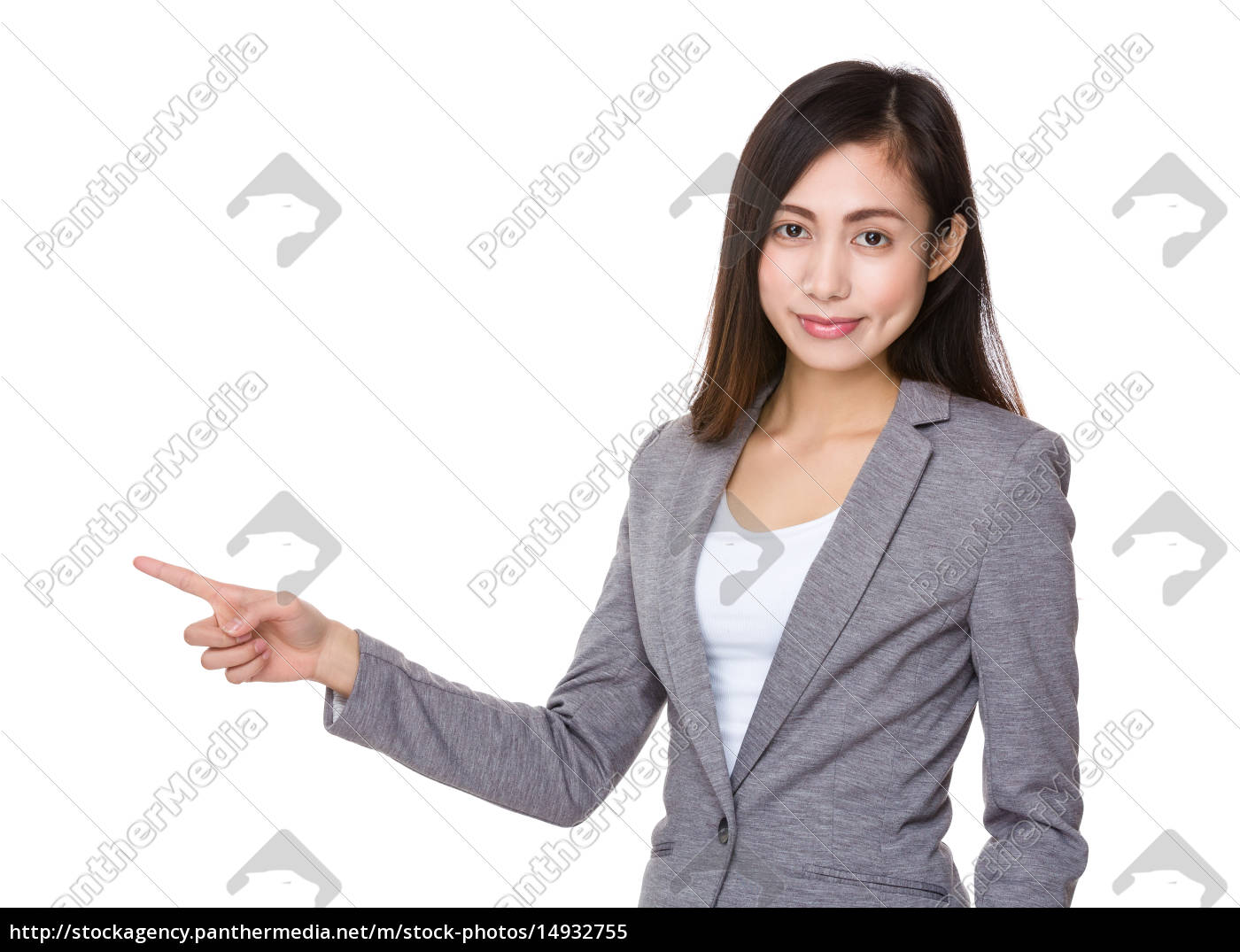 businesswoman, with, finger, point, up - 14932755