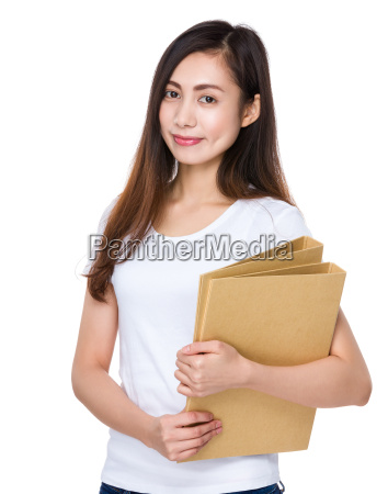 woman, hold, with, folder - 14932613
