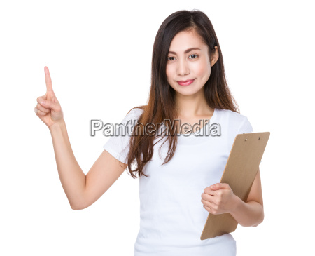 young, woman, holding, a, clipboard, and - 14932605