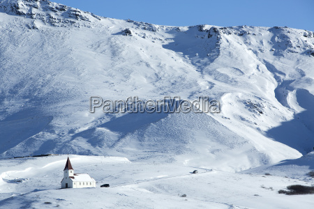 church of vik in wintertime iceland