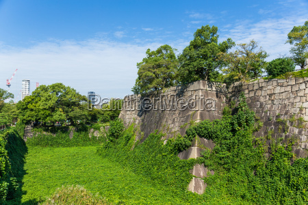 wall fence of osaka castle in