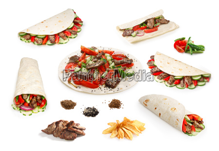 beef shawarma set isolated