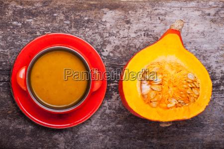 pumpkin soup and half of hokkaido