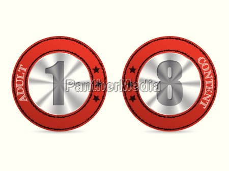 adult content badges with 1 and