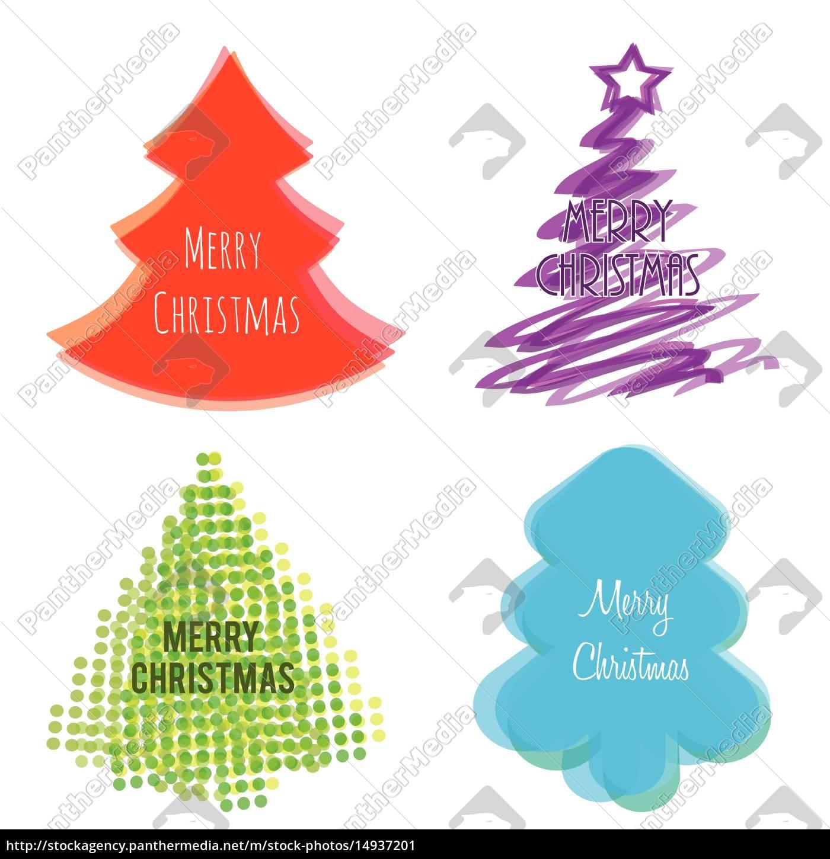 christmas, tree, set, flat, style - 14937201