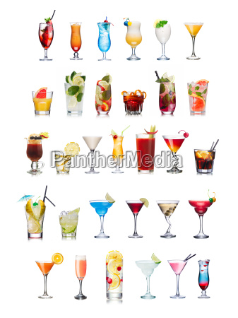 popular, alcoholic, cocktails, isolated, on, white - 14938905
