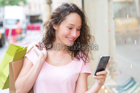 young, attractive, woman, using, mobile, during - 14939209