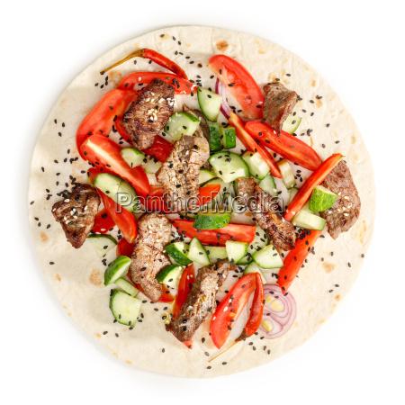 beef shawarma isolated