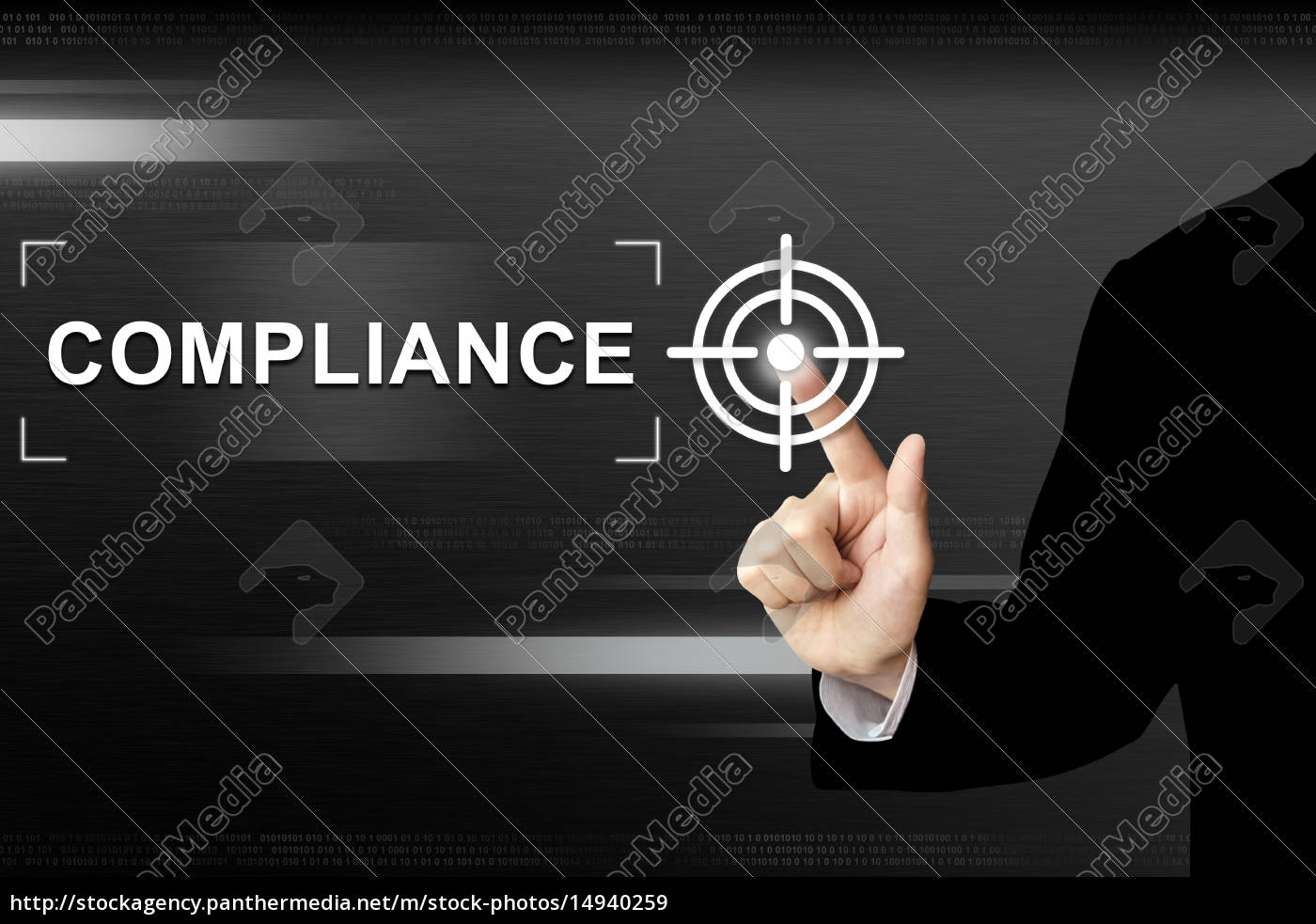 business, hand, pushing, compliance, button, on - 14940259