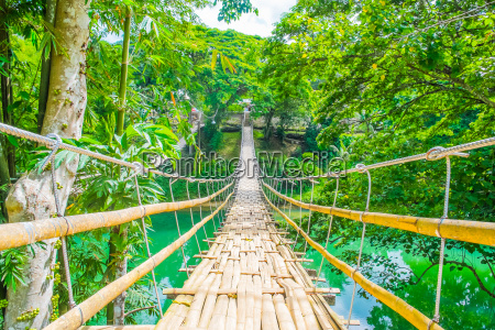 bamboo, pedestrian, suspension, bridge, over, river - 14941209