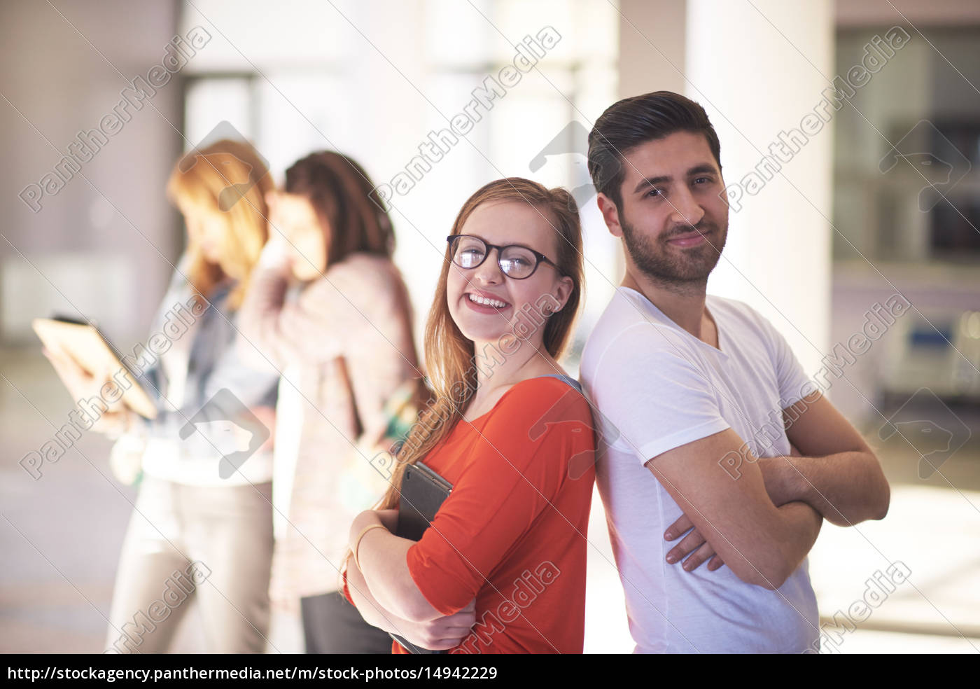 students, couple, standing, together - 14942229