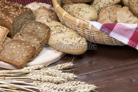 wholemeal, bread, and, pastries, on, a - 14942337