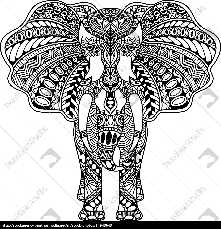 vector, henna, mehndi, decorated, indian, elephant - 14943643
