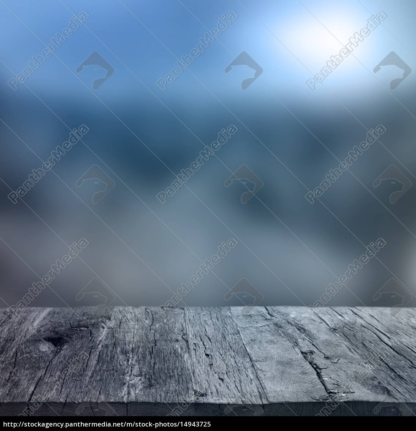 wooden, table, with, winter, background - 14943725