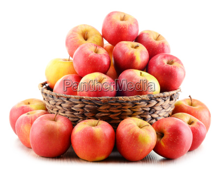 apples, in, wicker, basket, isolated, on - 14948245