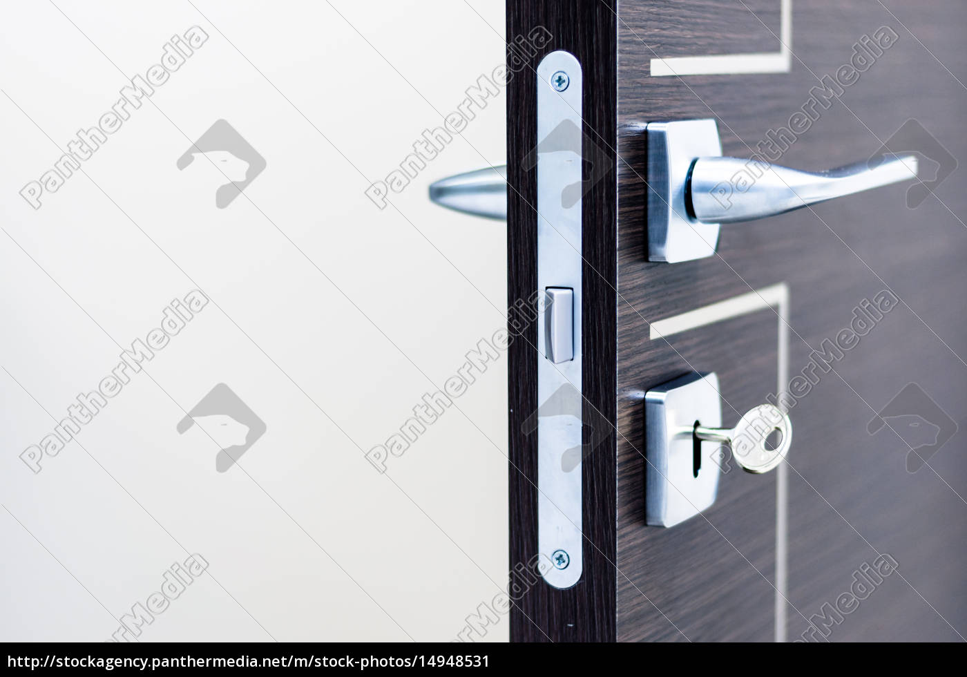 modern, , contemporary, satin, handle, and, keyhole - 14948531