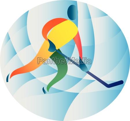 ice hockey player circle retro
