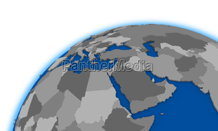 middle east region on globe political