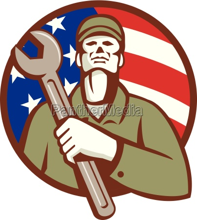 mechanic holding wrench usa flag circle