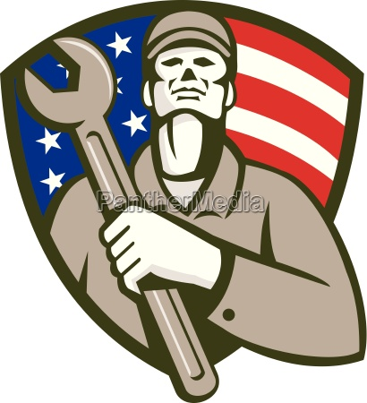 mechanic holding wrench usa flag shield