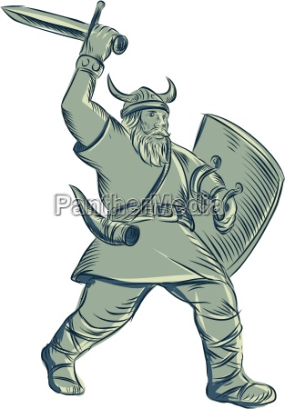 viking warrior striking sword etching