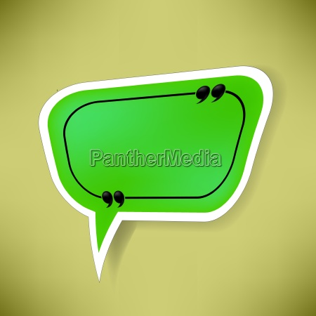 green paper speech bubble isolated on