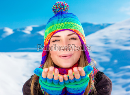 happy woman on winter holidays