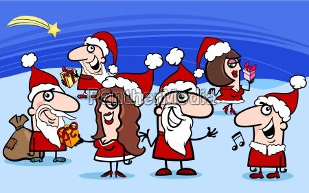 christmas santa clauses cartoon