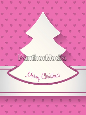 christmas greeting with christmastree and hearts
