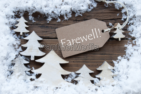 label christmas trees and snow farewell