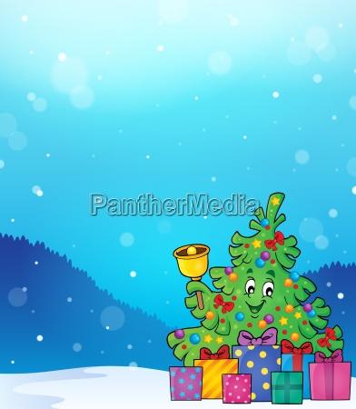 christmas tree and gifts theme image