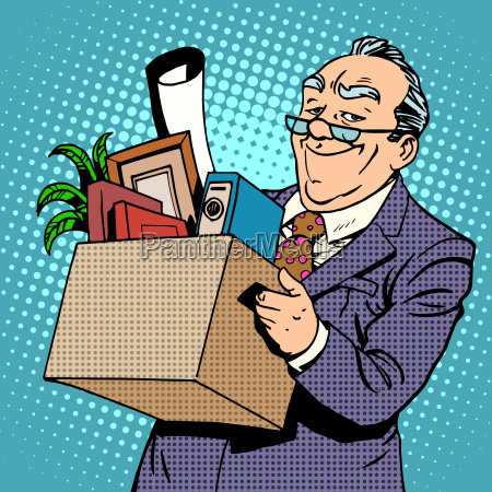 happy businessman goes from the office