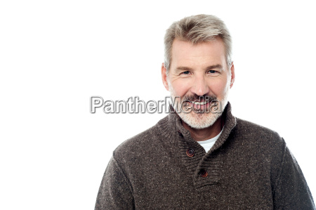 mature man posing over white
