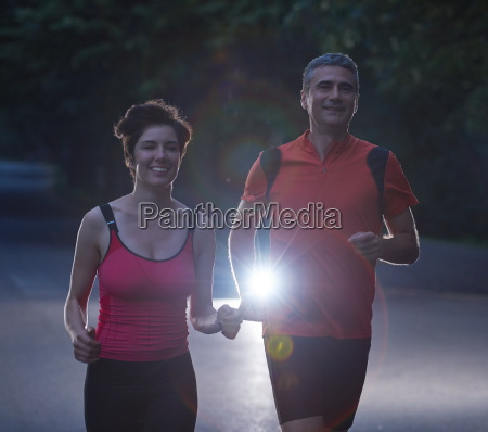 couple jogging at early morning