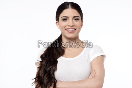 pretty smiling woman over white