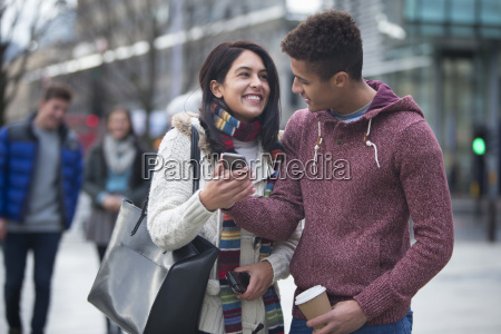 couple in the city looking at