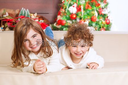 happy kids in christmas eve