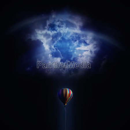 an air balloon fly in blue