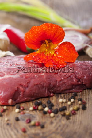 nasturtium on a steak