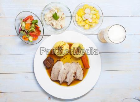 bavarian roast pork and dumplings from