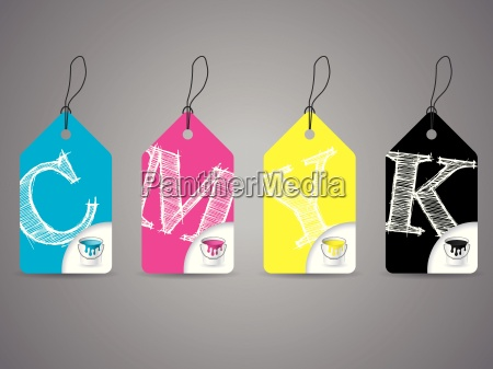 cmyk labels with paint and scribbled