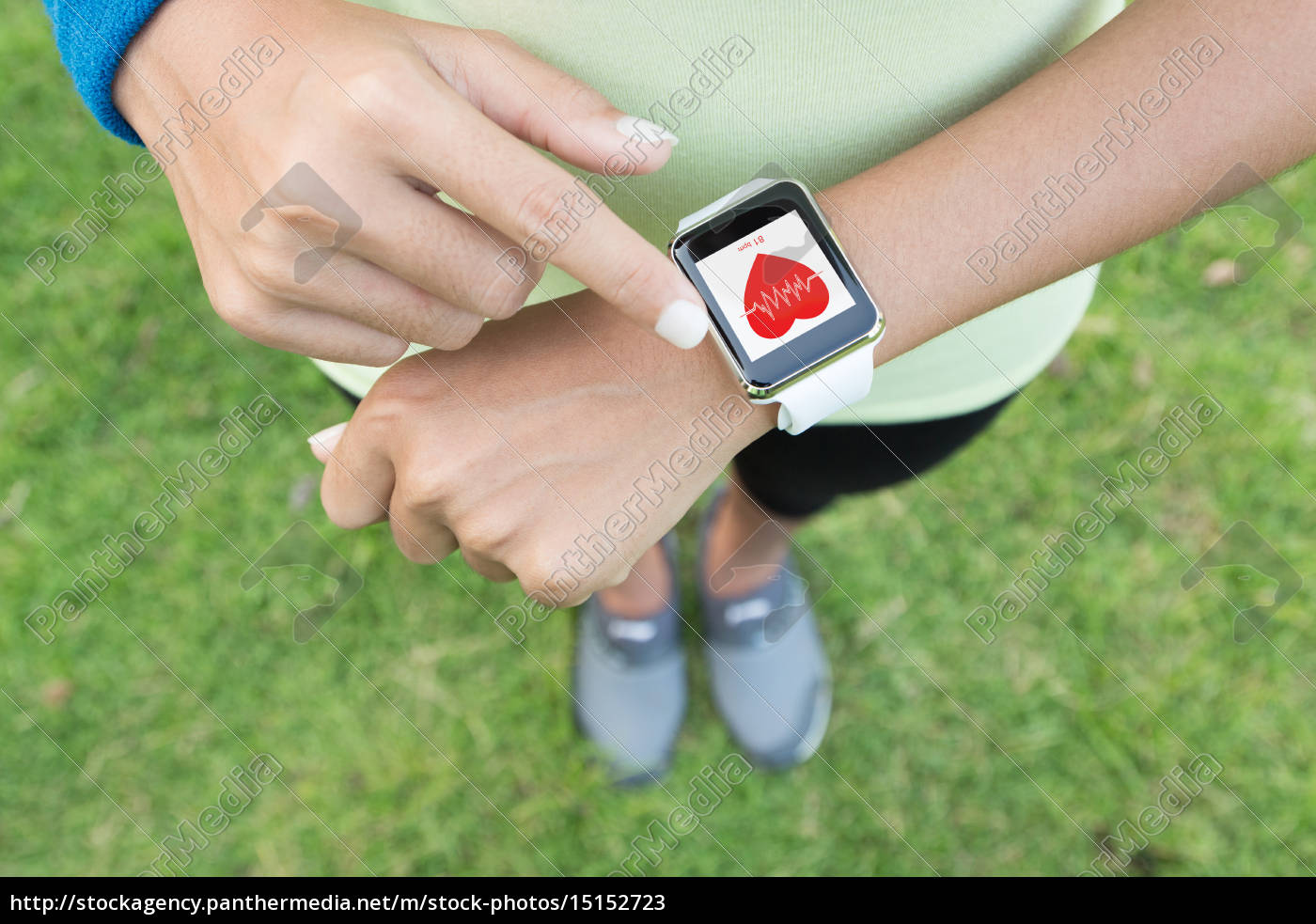 sport, woman, touch, on, hand, watch - 15152723
