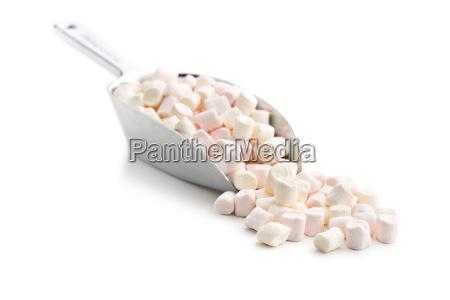 mini marshmallows in metal scoop